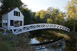 1780 Selectmen's Building with footbridge over pond, Somesville, Maine, United States of America