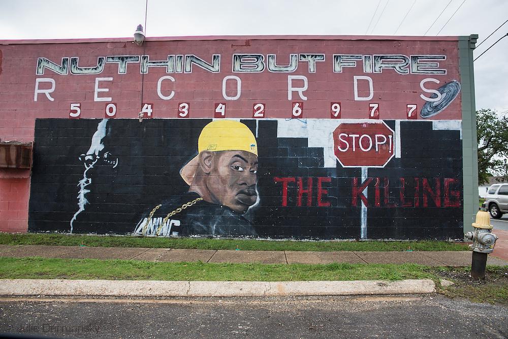 June 14, 2015, New Orleans, LA, Mural about crime.
