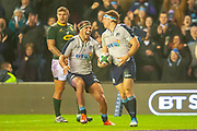 Stuart McInally (#2) (Edinburgh) of Scotland comes to congratulate Hamish Watson (#7) (Edinburgh) of Scotland, after Watson scores Scotland's second try during the Autumn Test match between Scotland and South Africa at the BT Murrayfield Stadium, Edinburgh, Scotland on 17 November 2018.
