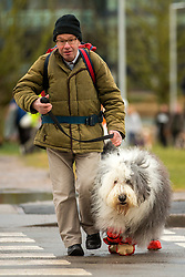 © Licensed to London News Pictures. 08/03/2018. Birmingham UK. People have began to arrive at the NEC in Birmingham this morning for the Crufts 2018 dog show. Photo credit: Andrew McCaren/LNP
