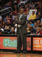 Dec. 10 2010; Phoenix, AZ, USA; Portland Trailblazers head coach Nate McMillan reacts on the court against the Phoenix Suns at the US Airways Center. The Trailblazers defeated the Suns 101-94. Mandatory Credit: Jennifer Stewart-US PRESSWIRE..