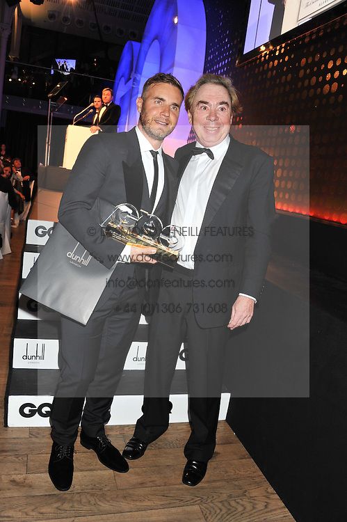 Left to right, GARY BARLOW winner of the GQ Outstanding Achievement Award and LORD ANDREW LLOYD WEBBER who presented the award at the GQ Men of The Year Awards 2012 held at The Royal Opera House, London on 4th September 2012.