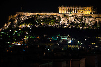 Athens, Greece. Acropolis at night.