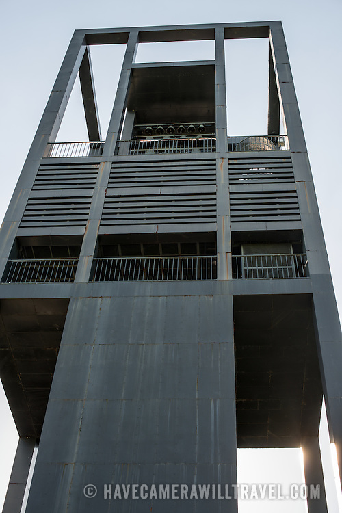 The eastern front of the Netherlands Carillon next to Arlington National Cemetery and the Iwo Jima Memorial. First donated in 1954, the Carillon was moved to its current location in 1960. It was a gift of the Netherlands to the United States in thanks for US aid during World War II.