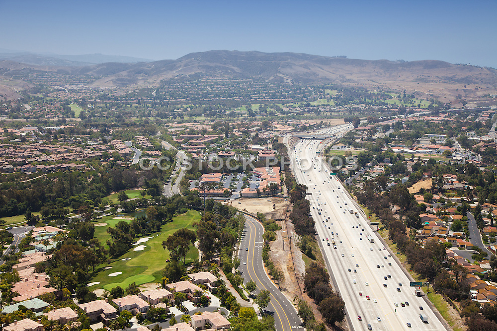 Aerial Stock Photo of 5 Freeway in San Juan Capistrano