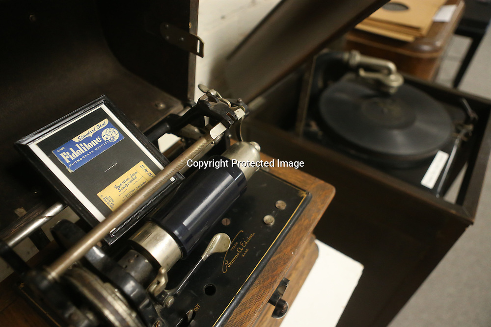 """A pair of vintage record players sit side by side in the """"Bells & Whistles"""" Vintage Technology Exhibit that is on display at the Oren Dunn City Museum in Tupelo until July 21."""