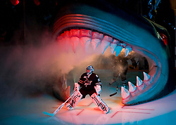October 8, 2009; San Jose, CA, USA; San Jose Sharks goalie Evgeni Nabokov (20) enters the ice before the game against the Columbus Blue Jackets at the HP Pavilion.  San Jose won 6-3. Mandatory Credit: Jason O. Watson / US PRESSWIRE