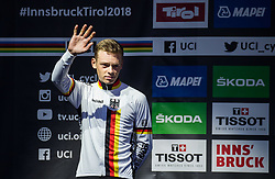 Podium / Marius Mayrhofer of Germany Silver Medal / Celebration / During the Men Juniors Road Race A 132.4km Race from Kufstein to Innsbruck 582m at the 91st UCI Road World Championships 2018 / RR / RWC / on September 27 , 2018 in Innsbruck, Austria. Photo by Vid Ponikvar / Sportida