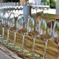 Wine Glasses at Concha y Toro Vineyard in Pirque, Chile<br /> I love wine! So visiting one of my favorite vineyards is a special treat. The best part is the tasting.  It is a great way to savor an old friend while treating my palate to unfamiliar ones. Vi&ntilde;a Concha y Toro markets five brands, ranging from their premium Don Melchor to their flagship cabernet Casillero del Diablo. These glasses are lined up along a terrace counter for the sampling of white wines. The reds are poured at the end of the tour along with pairings of cheese.