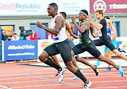 Justin Gatlin (USA) defeats Michael Rodgers aka Mike Rodgers to win the 100m in 10.03 during the 57th Ostrava Golden Spike track and field meeting in a IAAF World Challenge event at Mestsky Stadium in Ostrava, Czech Republic, Wednesday, June 13, 2018. (Jiro Mochizuki/Image of Sport)
