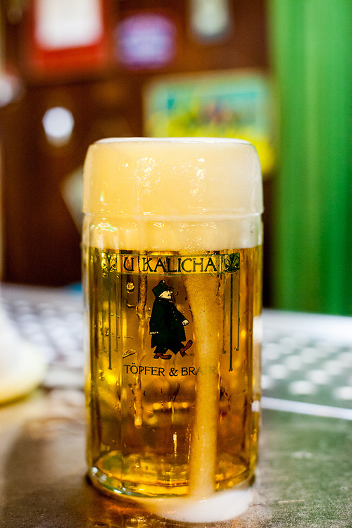 "A fresh draught beer at the traditional Svejk pub ""U Kalicha"" in Prague."