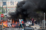 © Benjamin Girette / IP3 PRESS : July 20, 2014 in Sarcelles.  French youths clash with police forces defying a ban on a protest against Israel's Gaza offensive went on a rampage in a Paris suburb, setting fire to cars and garbage cans after a peaceful demonstration.