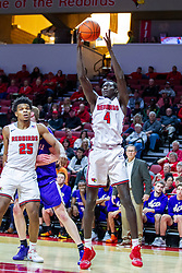 NORMAL, IL - January 29: Abdou Ndiaye during a college basketball game between the ISU Redbirds and the University of Evansville Purple Aces on January 29 2020 at Redbird Arena in Normal, IL. (Photo by Alan Look)