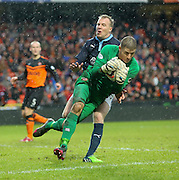 Radosław Cierzniak denies David Clarkson - Dundee United v Dundee, SPFL Premiership at Tannadice<br /> <br />  - &copy; David Young - www.davidyoungphoto.co.uk - email: davidyoungphoto@gmail.com