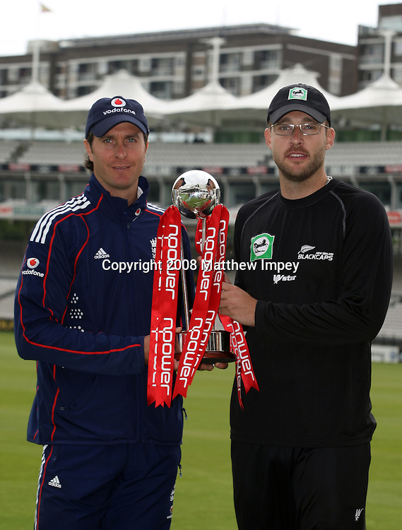 Captains Michael Vaughan (England, left) and Daniel Vettori (New Zealand) pose with the NPower series trophy before the nets session. New Zealand Cricket Nets, Lord's Cricket Ground, St.Johns Wood, London,14/05/2008. © Matthew Impey / Wiredphotos.co.uk. tel: 07789 130 347 e: matt@wiredphotos.co.uk