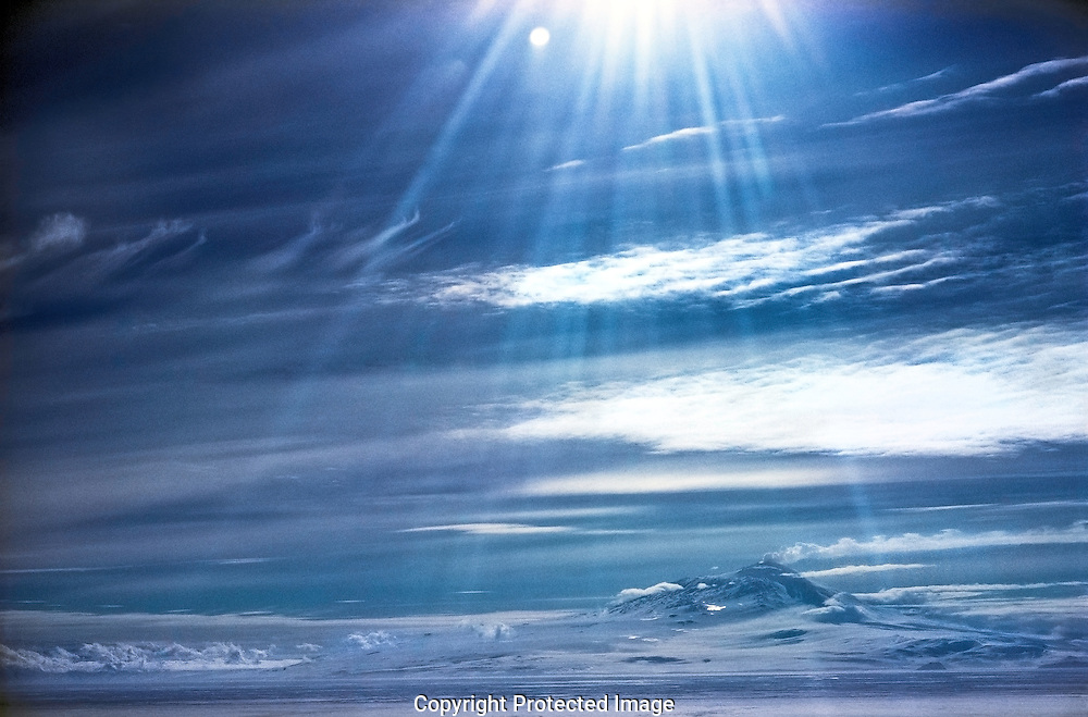Antarctic morning with sun's lens glare