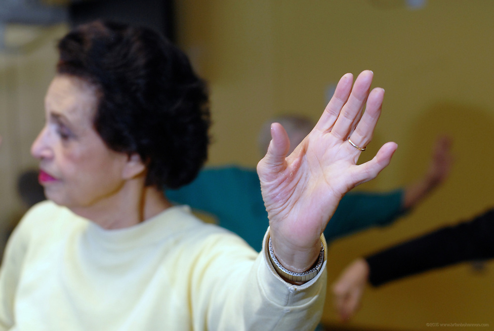 Gloria Marshall participates in the Highlands Community Ministry's Senior Services Tai Chi class Tuesday, March 11, 2008 in Louisville, Ky., at St Paul's Methodist Church. (AP Photo/Brian Bohannon)