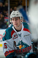 KELOWNA, CANADA - DECEMBER 27: Kole Lind #16 of the Kelowna Rockets skates past the bench to celebrate a goal against the Kamloops Blazers on December 27, 2017 at Prospera Place in Kelowna, British Columbia, Canada.  (Photo by Marissa Baecker/Shoot the Breeze)  *** Local Caption ***