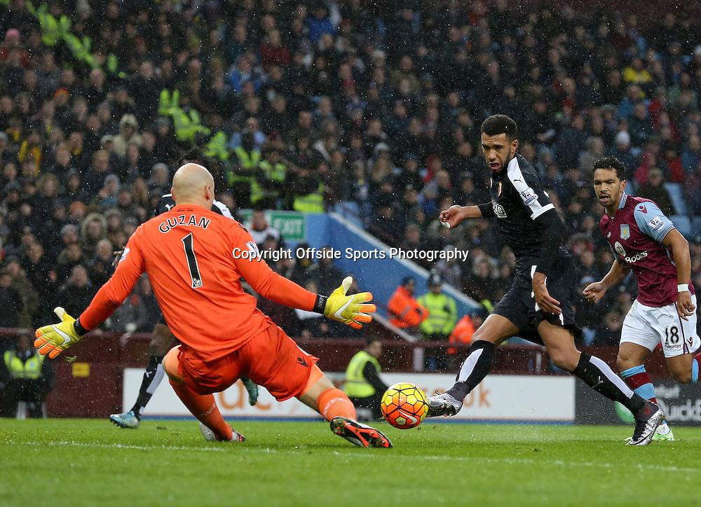 28th November 2015 - Barclays Premier League - Aston Villa v Watford - Almen Abdi of Watford shoots at Brad Guzan of Aston Villa  - Photo: Paul Roberts / Offside.