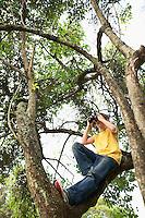 Boy in Tree Using Binoculars