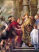 Anthony van Dyck (1599 –1641)Flemish painter. Ambrosius and Emperor Theodosius, 'Saint Ambrose forbids emperor Theodosius I to enter the church'.