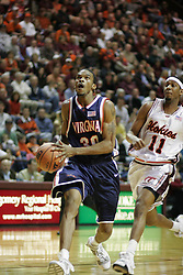 Adrian Joseph (30) beats a VT defender and heads towards the basket.  Joseph had 11 points in the game, including a clutch 3 pointer with 0:44 left to give the Cavs the lead.  UVA won 54-49.