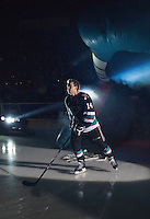 KELOWNA, CANADA - SEPTEMBER 25: Rourke Chartier #14 of Kelowna Rockets enters the ice during the season home opener against the Kamloops Blazers on September 25, 2015 at Prospera Place in Kelowna, British Columbia, Canada.  (Photo by Marissa Baecker/Shoot the Breeze)  *** Local Caption *** Rourke Chartier;