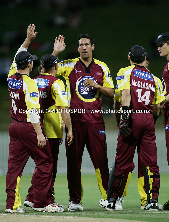 Knights bowler Daryl Tuffey celebrates after taking the wicket of Geoff Barnett during the State Twenty20 cricket match between the Northern Knights and Central Stags at Seddon Park, Hamilton, on Saturday 13 January 2007. The Knights won the match by 2 runs. Photo: Renee McKay/PHOTOSPORT<br />