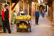 FEZ, MOROCCO - 01st NOVEMBER 2013 - Daily life street scene in the old Fez Medina, Middle Atlas Mountains, Morocco.