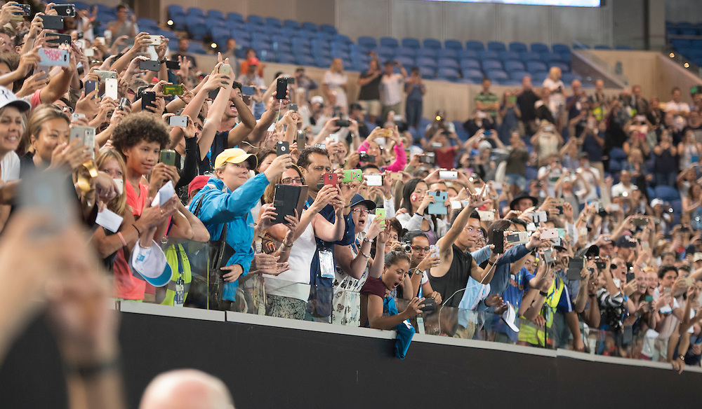 Fans after the men's final on day fourteen of the 2017 Australian Open at Melbourne Park on January 29, 2017 in Melbourne, Australia.<br /> (Ben Solomon/Tennis Australia)