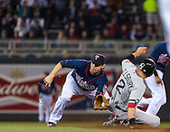 Jacoby Ellsbury #2 of the Boston Red Sox safely steals 2nd base ahead of the throw to Brian Dozier #2 of the Minnesota Twins on May 17, 2013 at Target Field in Minneapolis, Minnesota.  The Red Sox defeated the Twins 3 to 2.  Photo: Ben Krause