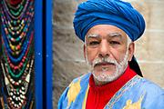 ESSAOUIRA, MOROCCO May 08th 2018 - Portrait of shop keeper in the Essaouira Medina, Southern Morocco