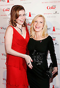 Actresses Jenna Fischer and Angela Kinsey  pose backstage before the The Heart Truth's Red Dress Fall 2008 collection show during Mercedes-Benz Fashion Week Fall 2008, held at Bryant Park in New York City, USA on February 1st, 2008.