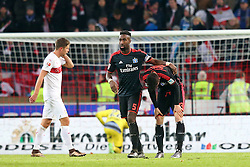 30.12.2015, Mercedes Benz Arena, Stuttgart, GER, 1. FBL, VfB Stuttgart vs Hamburger SV, 19. Runde, im Bild Johan Djourou (Hamburger SV) Michael Gregoritsch (Hamburger SV) frustriert nach der Niederlage // during the German Bundesliga 19th round match between VfB Stuttgart and Hamburger SV at the Mercedes Benz Arena in Stuttgart, Germany on 2015/12/30. EXPA Pictures © 2016, PhotoCredit: EXPA/ Eibner-Pressefoto/ Langer<br /> <br /> *****ATTENTION - OUT of GER*****
