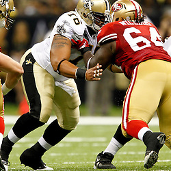 August 12, 2011; New Orleans, LA, USA; New Orleans Saints center Cecil Newton (76) works against San Francisco 49ers nose tackle Ian Williams (64) during the second half of a preseason game at the Louisiana Superdome. The New Orleans Saints defeated the San Francisco 49ers Mandatory Credit: Derick E. Hingle