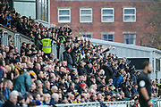 FGR fans celebrate the first goal during the EFL Sky Bet League 2 match between Newport County and Forest Green Rovers at Rodney Parade, Newport, Wales on 26 December 2018.