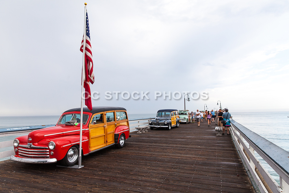 Vintage Woody Cars on Display at the San Clemente Pier