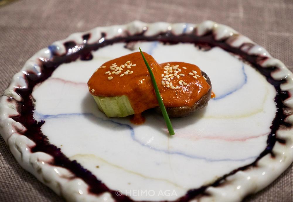 "China, Sichuan. Chengdu. Yu Zhi Lan gourmet restaurant. ""Fish fragrant eggplant with mushroom"""