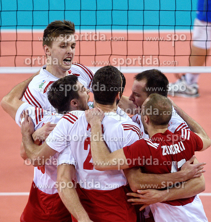 Mateusz Bieniek #9 during volleyball match between National teams of Poland and Slovenia in Quarterfinals of 2015 CEV Volleyball European Championship - Men, on October 14, 2015 in Arena Armeec, Sofia, Bulgaria. Photo by Ronald Hoogendoorn / Sportida