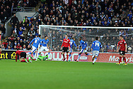 Peterborough's players celebrate after Michael Bostwick (6) scores the opening goal from a free-kick. NPower championship, Cardiff city v Peterborough Utd at the Cardiff city stadium in Cardiff, South Wales on Sat 15th Dec 2012. pic by Andrew Orchard, Andrew Orchard sports photography,