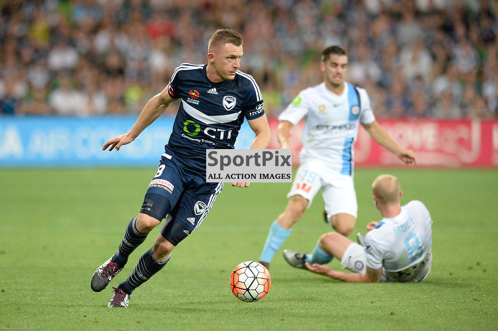 Besart Berisha of Melbourne Victory, Aaron Mooy of Melbourne City - Hyundai A-League, 19th December 2015, RD11 match between Melbourne City FC v Melbourne Victory FC at Aami Park in a 2:1 win to City in front of a 23,000+ crowd. Melbourne Australia. © Mark Avellino | SportPix.org.uk