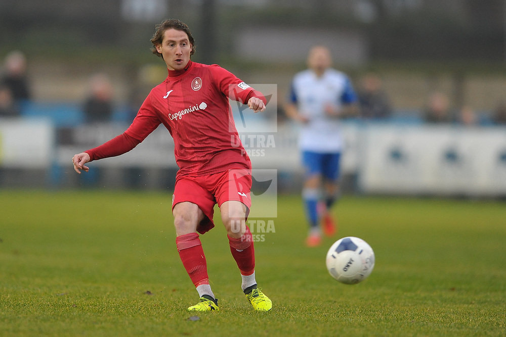 TELFORD COPYRIGHT MIKE SHERIDAN James McQuilkin of Telford during the Buildbase FA Trophy 3Q fixture between Guiseley and AFC Telford United at Nethermoor Park on Saturday, November 23, 2019.<br /> <br /> Picture credit: Mike Sheridan/Ultrapress<br /> <br /> MS201920-031