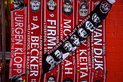 LIVERPOOL, ENGLAND - Saturday, December 29, 2018: Liverpool scarves, featuring the images of managers Bill Shankly, Bob Paisley, Joe Fagan, Kenny Dalglish, Gerard Houllier, Rafael Benitez and current manager Jürgen Klopp on sale before the FA Premier League match between Liverpool FC and Arsenal FC at Anfield. (Pic by David Rawcliffe/Propaganda)
