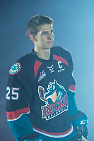 KELOWNA, CANADA - SEPTEMBER 22: <br /> Cal Foote #25 of the Kelowna Rockets enters the ice for home opener against the Kamloops Blazers on September 22, 2017 at Prospera Place in Kelowna, British Columbia, Canada.  (Photo by Marissa Baecker/Shoot the Breeze)  *** Local Caption ***