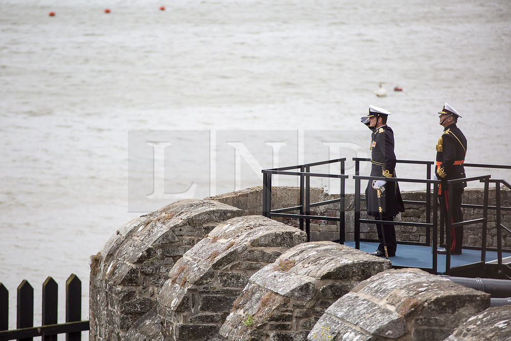 @Licensed to London News Pictures 08 06 2017. Chatham, Medway, Kent. The Royal Prins Maurits of the Netherland is taking the salute as 100 Dutch vessels sail past to commemorate the Battle of Medway at Upnor Castle in Kent today. The Battle of Medway took place in 1667 when the Dutch launched a daring assault on the British upon the River Medway at Chatham destroying the whole fleet . Photo credit: Manu Palomeque/LNP