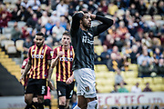Vadaine Oliver of Northampton Town holds his head in disappointment during the EFL Sky Bet League 2 match between Bradford City and Northampton Town at the Utilita Energy Stadium, Bradford, England on 7 September 2019.