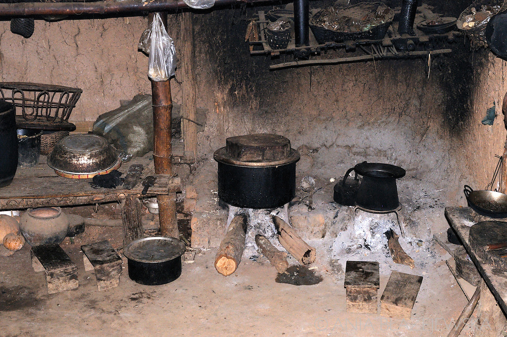 Burma/Myanmar. Kitchen in the Akha tribe house.