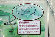 Information panel Windmill Hill, a Neolithic causewayed enclosure, near Avebury, Wiltshire, England, UK