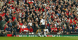 MANCHESTER, ENGLAND - Saturday, April 5, 2003: Liverpool's Sami Hyypia walks off after being showen the red card against Manchester United during the Premiership match at Old Trafford. (Pic by David Rawcliffe/Propaganda)