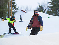 Perfect conditions greet snowboarders Jack Zarse and Jack McNamara in the terrain park at the Abenaki Ski Area in Wolfeboro.  (Karen Bobotas/for the Laconia Daily Sun)